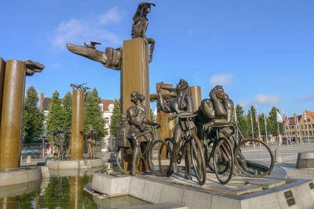 T Zand Square Fountain in Bruges Belgium