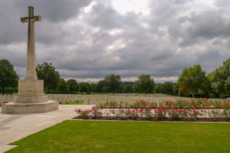 Hooge Crater WW1 Cemetery near Ypres in Belgium Stock Photo