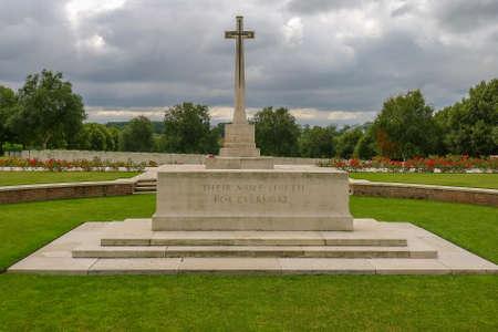 Hooge Crater WW1 Cemetery near Ypres in Belgium Stock Photo
