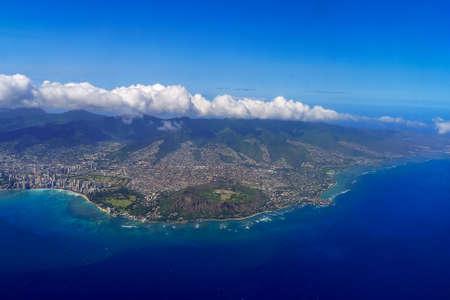 Honolulu and Diamond Head Aerial View Hawaii