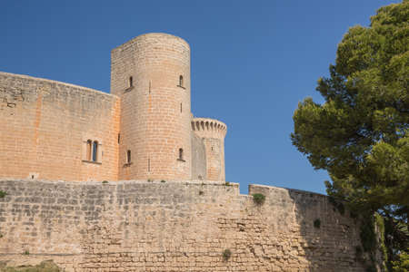 Old fortified castle high above Palma in Majorca Spain