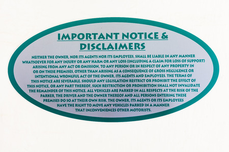 important notice: Important notice and disclaimers sign Stock Photo