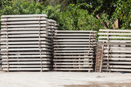 Concrete Building products stacked drying in yard