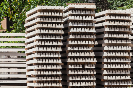 Concrete Building products stacked drying in outdoors yard