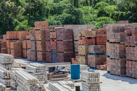 lintel: Brick Block Lintel Storage Yard of new manufactured building materials