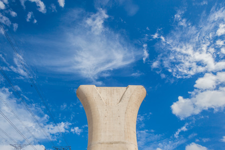 constructed: Constructed concrete column in blue sky for supporting road structure to be mounted for entry exit fly-over design