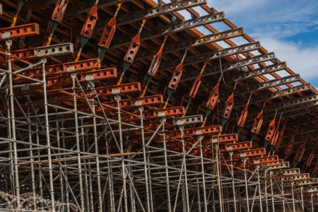 Steel metal scaffolding support structures mounted for concrete mould pouring on road civil engineering construction