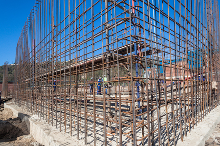 Steel wire rod wall frame ready for concrete pouring once boxed on building construction site  Stock Photo