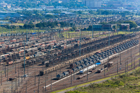 dozens: Railway train trailer storage holding yard for dozens of different types of product trailers