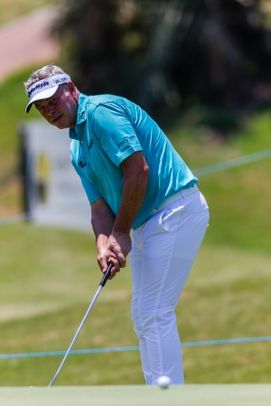 Professional Darren Clarke putts his ball at the European pga Volvo Golf Champions tournament at Durban Country club South Africa