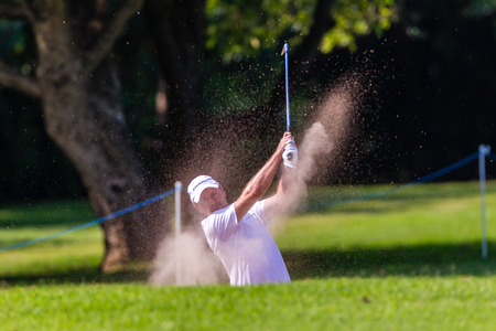 Professional Richard Sterne swings and strikes his ball at the European pga Volvo Golf Champions tournament at Durban Country club South Africa