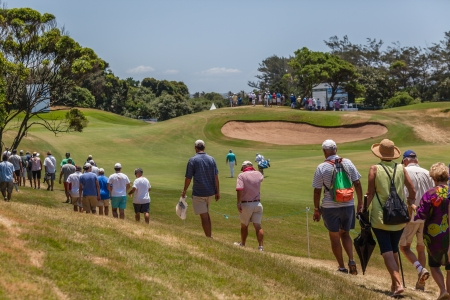 Crowd Spectators walking at European PGA Tournament Volvo Golf Champions Tournament play action at Durban Country Club  January 2014 South Africa Editorial