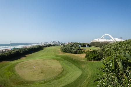 stadium  durban: Durban Country club golf course first green fairway terrain at European PGA Tournament Volvo Golf Champions Tournament play  January 2014 South Africa Editorial