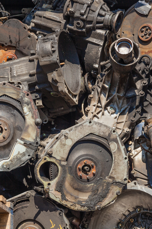 resale: Vehicle Gearboxes stacked together for vehicle maintenance resale repairs