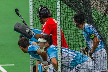 Hockey interland actie tussen Zuid-Afrika v Agrentina op Queensmead