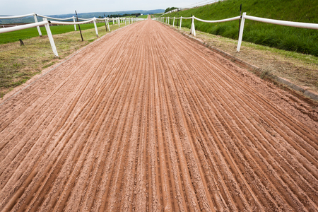 Horse racing training sand track with smooth grooved    soil detail ready for running  photo