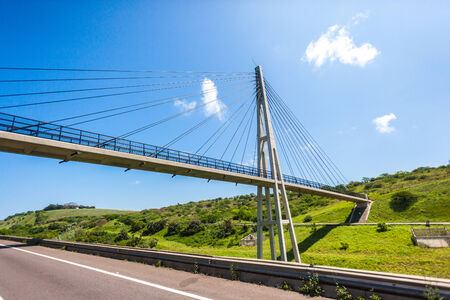 Pedestrian public cable suspended bridge crossing over highway with decor appeal design by architects and construction contractors photo