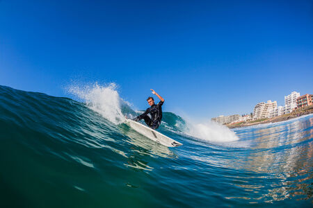 cutback: Surfing blue waves water swimming photo of rider action