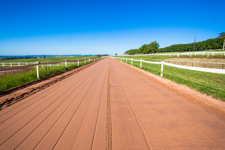 Sand Smooth Horse training track for easy running in color detail Stock Photo