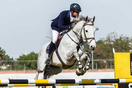 Rider male and horse in flight jumping over gate poles  at national equestrian championships