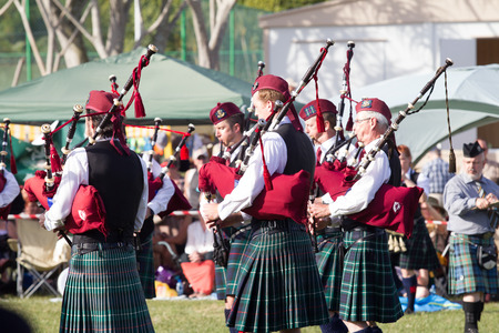 scottish female: Scottish Bands men and women play musical instruments in traditional colors at the Scottish Highland Gathering
