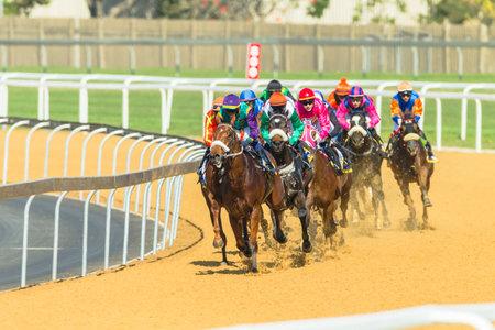 Paardenraces actie van jockeys races op Greyville racecouse zand en gras voor Durban juli Vodacom cup.