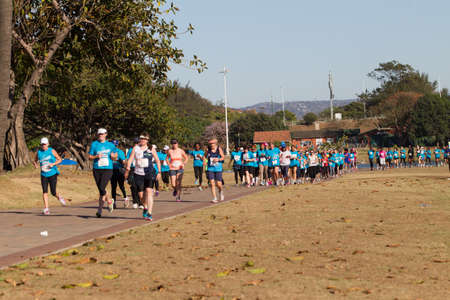 beachfront: Ladies and Girls participating in the Spar Marathon Race Walk held along beachfront promenade. Durban South-Africa 18th Sept 2014