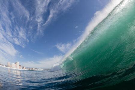 stadium  durban: Wave wall crashing water at Durban Surf-city beachfront