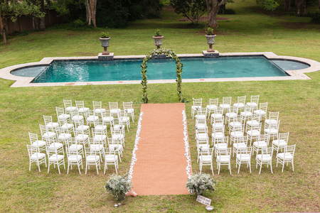 Wedding Decor Chairs Ceremony Lawn Pool Landscape With Guests Lunch Dinner  Table Settings On Porch Verandag