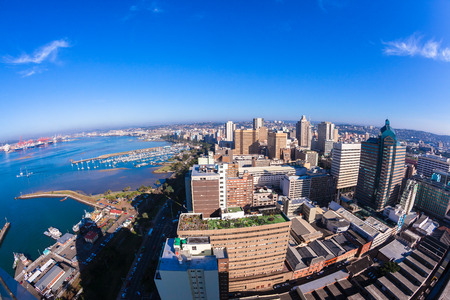 export import: Durban City harbor port landscape from birds-eye air position. Stock Photo