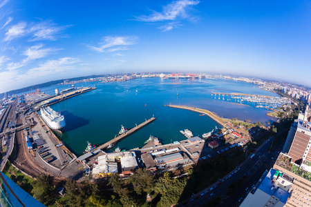 Durban harbor port landscape from birds-eye air position.
