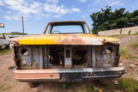 stripped: Truck car vehicle stripped scrapped abandoned to skeleton metal frame frame oadside