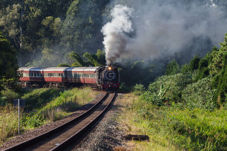 Steam train with coaches in countryside