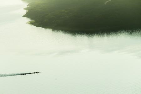 birdseye: Canoe race paddlers dam waters air birds-eye vintage landscape