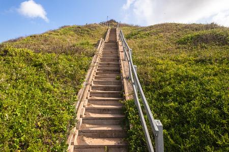 steep: Stairs up steep hillside bank Stock Photo