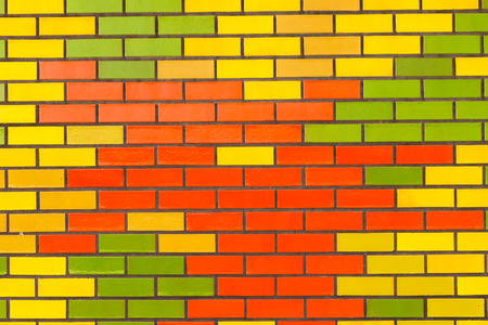 Color brick wall tiles background closeup decor detail photo