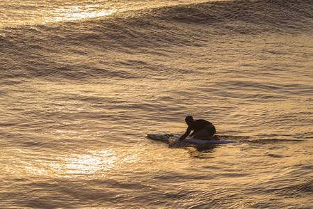 swells: Lifeguard unidentified male athlete trains dawn sunrise on rescue craft paddling out through ocean wave swells.