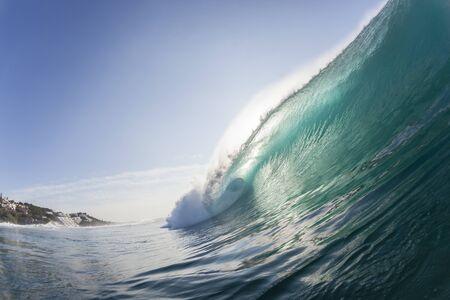 encounter: Ocean wave water crashing hollow energy power swimming encounter. Stock Photo