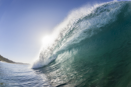 swells: Ocean wave hollow  blue water swimming closeup. Stock Photo