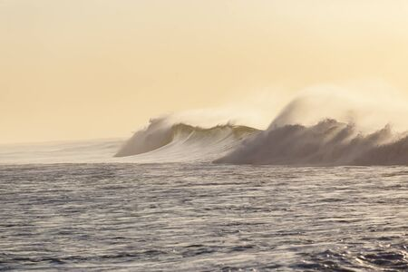 swells: Ocean wave morning crashing along beach coastline