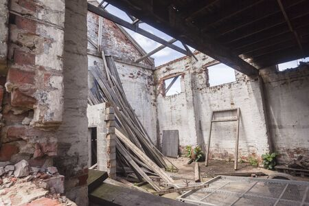 demolish: Building inside abandoned structure been demolished