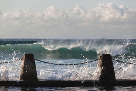 waves crashing: Tidal Pool ocean waves crashing water landscape