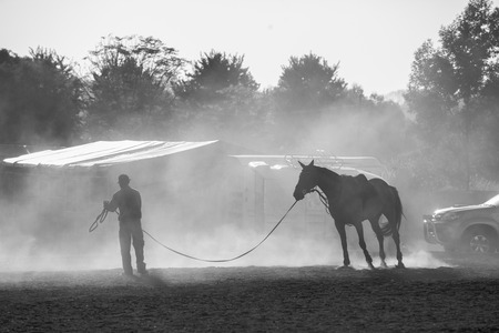 handler: Horse show jumping sand dust with Groom handler  in black and white tone contrasts at stables