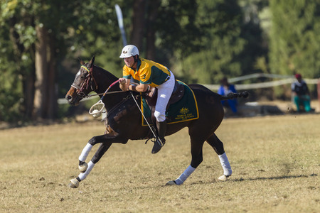 worldcup: Polocrosse sport world-cup Australias Trent Collins play action at Shongweni equestrian fields