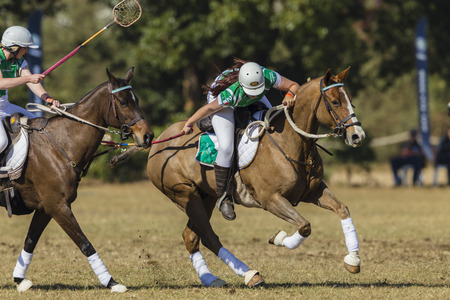 worldcup: Polocrosse sport world-cup Irelands Emily McDonagh play action at Shongweni equestrian fields Editorial