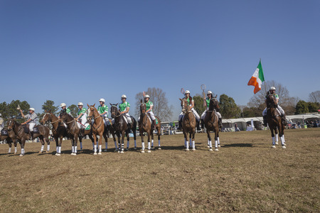 worldcup: Polocrosse sport world-cup Ireland parade before game at Shongweni equestrian fields