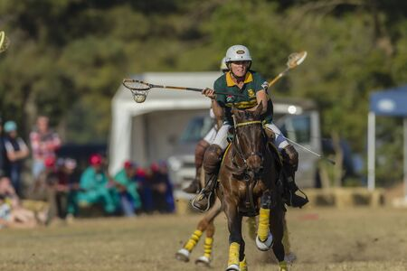 worldcup: Polocrosse sport world-cup South Africas Jean Hackland play action at Shongweni equestrian fields Editorial
