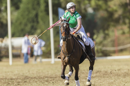 worldcup: Polocrosse sport world-cup Irelands Amy Buckley play action at Shongweni equestrian fields