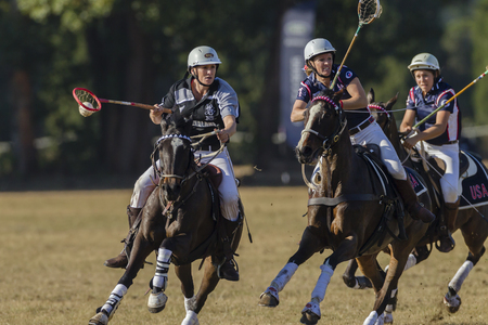 worldcup: Polocrosse sport world-cup New Zealands Nicky Schrafft v USA play action at Shongweni equestrian fields
