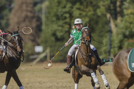 worldcup: Polocrosse sport world-cup Irelands Joanne Lavery play action at Shongweni equestrian fields